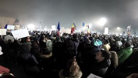 Crowd of people protesting against Romanian corrupt politicians stock video footage