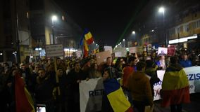 Crowd of people protesting against Romanian corrupt politicians stock footage