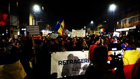 Crowd of people protesting against Romanian corrupt politicians stock video