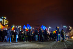 Crowd of people protesting, Bucharest, Romania Stock Image