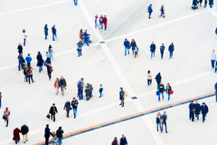 Crowd aerial view. Motion blur. Crowd of people at a public square. Long exposure. Motion blur. Aerial view Royalty Free Stock Images