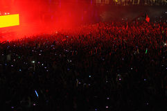 Crowd of people raising their hands at a concert Royalty Free Stock Photos