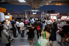Crowd of people in rush hour at BTS Mo Chit train station. Bangkok, Thailand - January 18, 2016 : People waiting to go out of the BTS Mo Chit station because of royalty free stock photos
