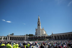 Crowd of people at the Sanctuary of Fatima during the celebrations of the apparition of the Virgin Mary in Fatima, Portugal. Fatima, Portugal - May 13, 2014 Royalty Free Stock Photos
