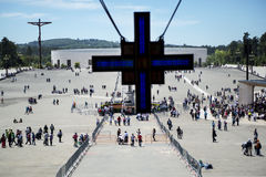 Crowd of people at the Sanctuary of Fatima during the celebrations of the apparition of the Virgin Mary in Fatima, Portugal. Stock Photography