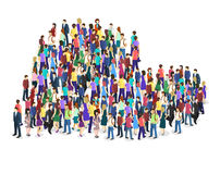 Crowd of people in the shape of a heart Stock Images