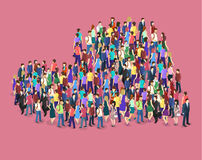 Crowd of people in the shape of a heart. Isometric flat 3D isolated concept  Infographic chart consisting of a crowd of people in the shape of a heart Stock Photography