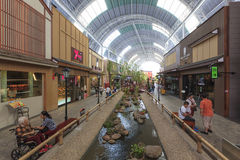 Crowd of people shopping at the Paseo Park mall. Royalty Free Stock Photos
