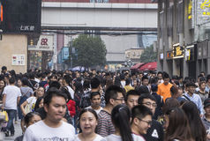 Crowd people in Shopping street .chengdu Royalty Free Stock Photos