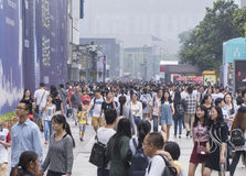 Crowd people in Shopping street .chengdu Royalty Free Stock Images