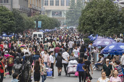 Crowd people in Shopping street .chengdu Stock Photography
