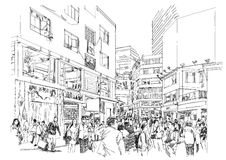Crowd of people in shopping street. Sketch of crowd of people in shopping street vector illustration