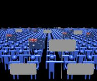 Crowd of people with signs and Australian flags illustration. Crowd of people with signs and Australian flags 3d illustration vector illustration