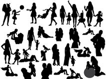Crowd of people. Silhouette of mother playing with child, collection Stock Images