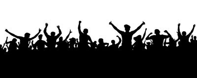 Crowd of people silhouette. Sports banner. Hands up fans. Cheerful life party. Crowd of people silhouette. Sports banner. Hands up fans. Cheerful life party Royalty Free Stock Images