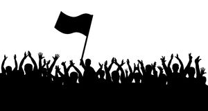 Crowd of people silhouette. Sports fans. People cheerful. Man with flag.  Stock Image