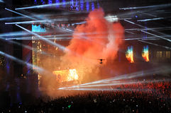 Crowd of people in a stadium at a concert Stock Photos