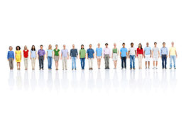 Crowd of people stood in long line stock images