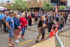 People enjoying Jazz Festival, Tauranga, New Zealand stock photo