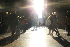 Crowd of people on the street, abstraction, blur. City stock photos