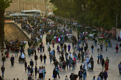 Crowd of people on the street in Marrakesh Stock Photography