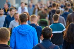 Crowd of people on the street. No recognizable faces Royalty Free Stock Photo