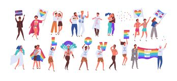 Crowd of people taking part in pride parade. Men and women at street demonstration for LGBT rights. Group of gay. Lesbian, bisexual, transgender activists stock illustration