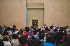 Crowd of People Taking Photo of the Mona Lisa Royalty Free Stock Image