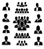 Crowd of people in team icon silhouettes. Illustration Royalty Free Stock Photo