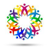 Crowd of People team work union, Cheering Up in Circle Logo on white background. In ai10 additional royalty free illustration