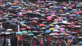 A crowd of people with their umbrellas during the Bedeinkhlam festival at Jowai Royalty Free Stock Photos