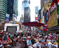 Crowd of people at Times Square New York royalty free stock photo