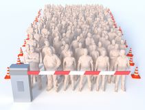 Crowd of people traffic blocked barricade stop. A crowd of many people are blocked and forced to stop and wait by government traffic barricade stock illustration