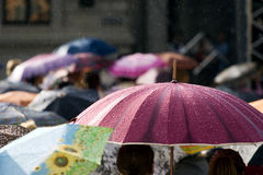Crowd of people with umbrellas. Busy street with crowd of people with umbrellas Royalty Free Stock Photo