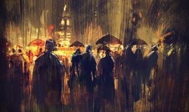 Crowd of people with umbrellas at night. Illustration painting Royalty Free Stock Photography