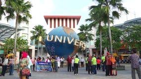 Crowd people in Universal Studios Singapore stock footage