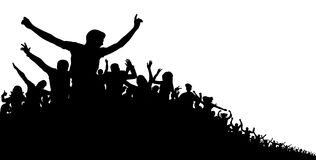 Crowd of people, vector silhouette background. Concert, party, sport, sports fans, cheerful applause. Crowd of people, vector silhouette background. Concert Stock Photos