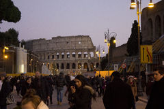 Crowd of people in Via del Colosseo Stock Photography