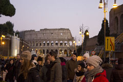 Crowd of people in Via del Colosseo Royalty Free Stock Image