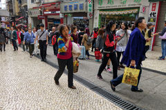 Crowd people visit historic area of city in Macau Royalty Free Stock Photos