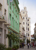 A crowd of people visit old city streets on January  27, 2013 in Havana, Cuba Royalty Free Stock Photos