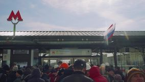 Crowd of people waiting for opening new metro station. In Moscow stock footage