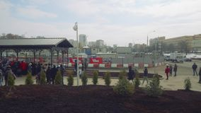 Crowd of people waiting for opening new metro station. In Moscow stock video footage