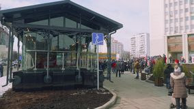 Crowd of people waiting for opening new metro station. In Moscow stock video