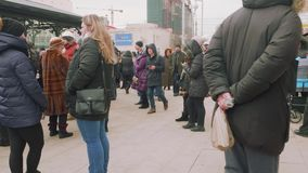 MOSCOW - CIRCA APRIL, 2018: Crowd of people waiting for opening new metro station. Crowd of people waiting for opening new metro station in Moscow stock footage