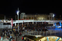 Crowd of people walk down stairs leaving Levi's Stadium Royalty Free Stock Images