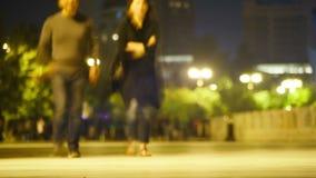 Crowd of People is Walking Along the Night Street. Time lapse. AZERBAIJAN, BAKU, MAY 9, 2017: Crowd of People is Walking Along the Night Street. Time lapse stock video
