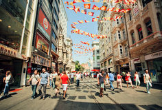 Crowd of people walking on busy Istiklal Street at sunny morning Royalty Free Stock Image