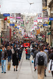 Crowd of people walking at the Independence Avenue or Istiklal Caddesi, Istanbul, Turkey. Stock Image