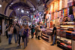 A crowd of people walking inside the Grand Bazaar in Istanbul, Turkey. Stock Photography